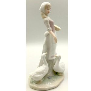Other - Sweet-Face Woman Feeding Geese ~ Ceramic Figurine
